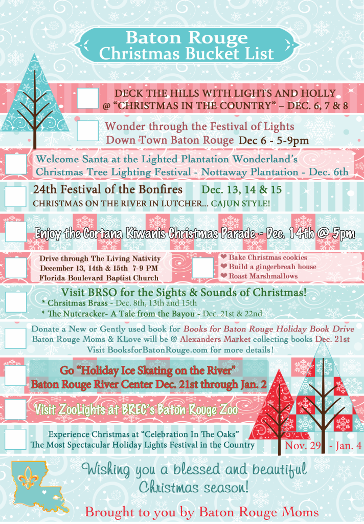 Baton Rouge Moms Chrsitmas Bucket List