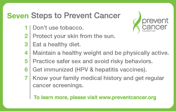 7 steps to prevent cancer