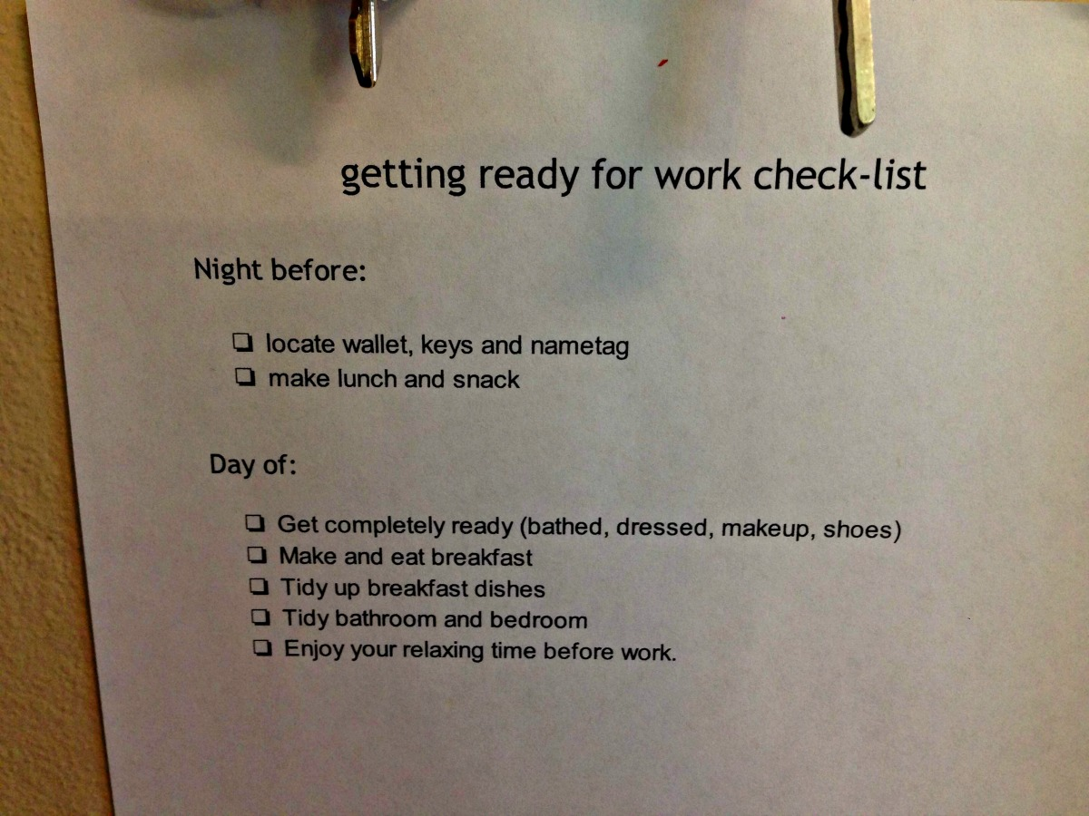 One of our many checklists.