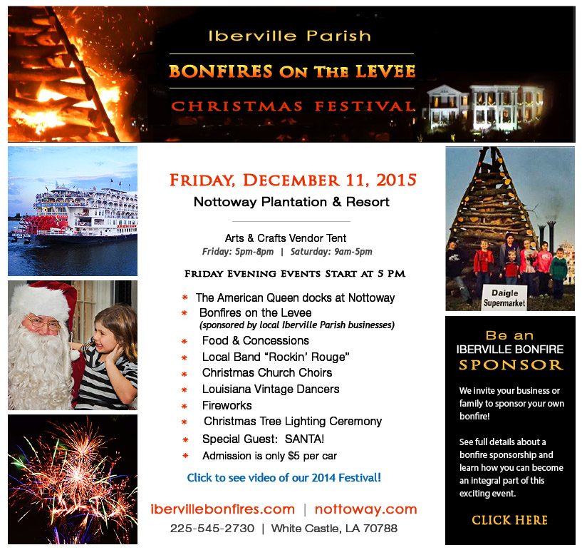 BONFIRES ON THE LEVEE / TREE LIGHTING - Friday, December 11